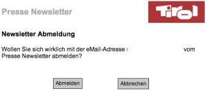 Presse-Newsletter Tirol abbestellen