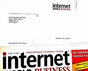Anschreiben mit Kennenlern-Exemplar der Internet World Business