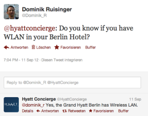 Twitter-Servicekanal HyattConcierge
