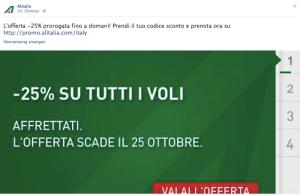 Alitalia Angebot auf Facebook