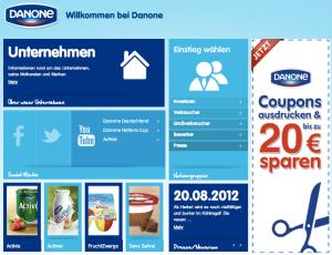 Die Startseite www.danone.de