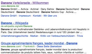 """Ergebnisse der Suche nach dem Begriff """"Danone"""" auf google.de"""