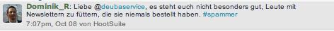 Hinweis Twitter Deutsche Bank