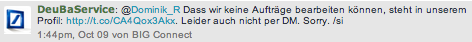 Deutsche Bank Twitter Service Kanal